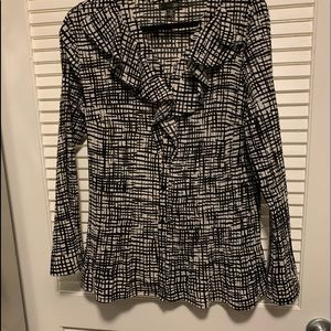East5th black and white shirt with ruffles